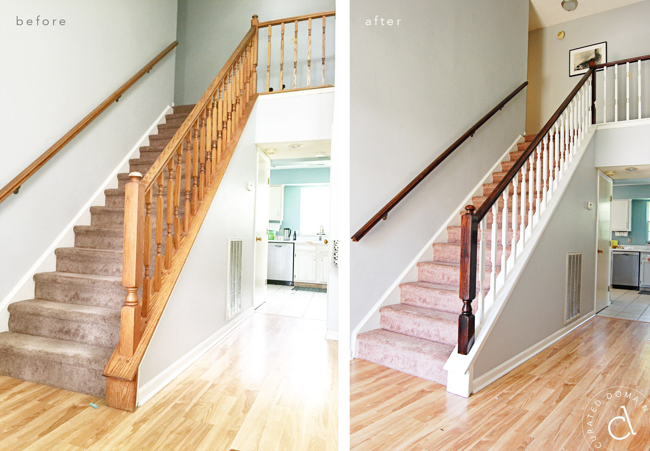 Staircase Banister Makeover - Curated Domain